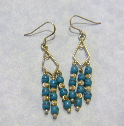 Turquoise and Corrugated Silver Chandelier Earrings