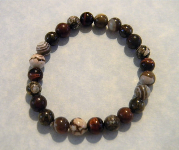 Shades of Brown and Rust Opaque Gemstone Stretch Bracelet