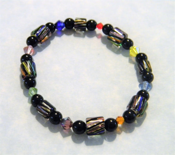 Black Based Rainbow Furnace Cane Bead and Crystal Stretch Bracelet
