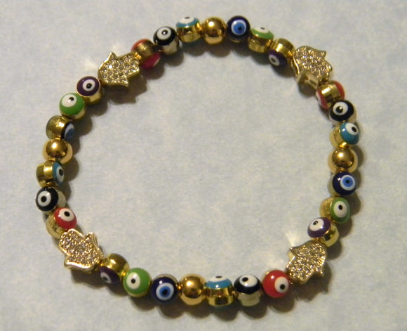 Multicolor Turkish Evil Bead and Pavé Hamsa Stretch Bracelet