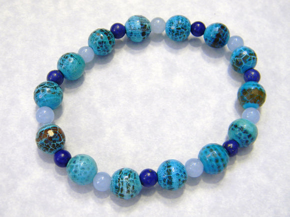 French Blue Cracked Agate, Lapis and Blue Agate Stretch Bracelet