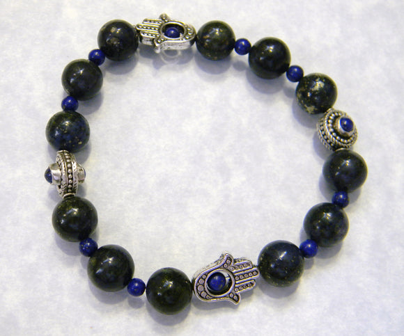 Lapis, Silver and Hamsa Bead Frame Stretch Bracelet