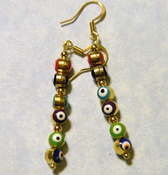 Multicolor Turkish Evil Eye and Gold Bead Drop Earrings