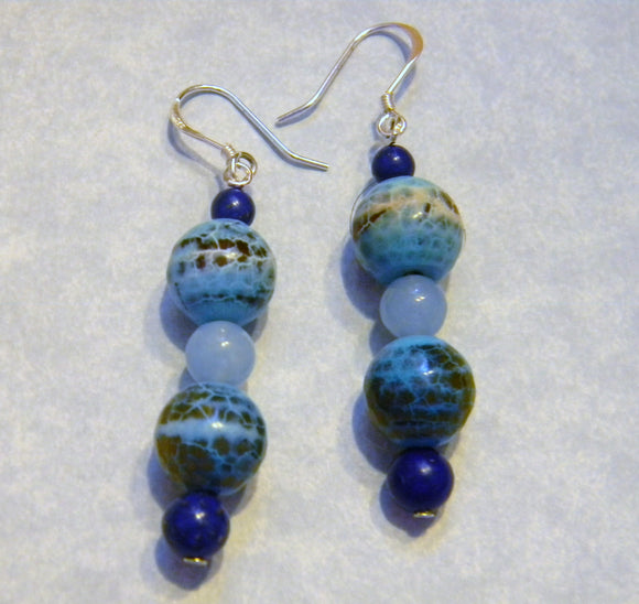 Cracked Agate, Lapis and Blue Agate Drop Earrings