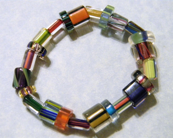 Multicolor Multishape Furnace Cane Bead Stretch Bracelet