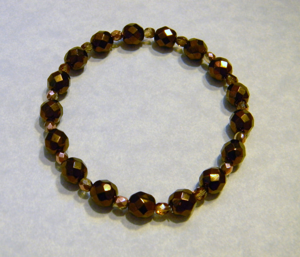 Faceted Bronze and Copper Colored Glass Bead Stretch Bracelet