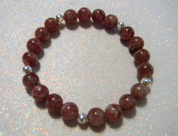 Red Muscovite and Silver Bead Stretch Bracelet