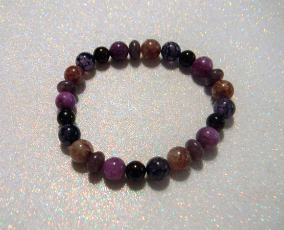 Shades of Pink Red and Purple Gemstone Stretch Bracelet