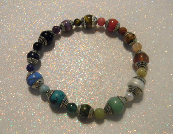 Rainbow, Multicolor Tibetan Silver Repousse Gemstone Stretch Bracelet