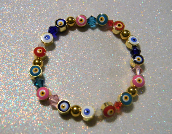 Multicolor Turkish Evil Eye, Crystal and Gold Bead Stretch Bracelet