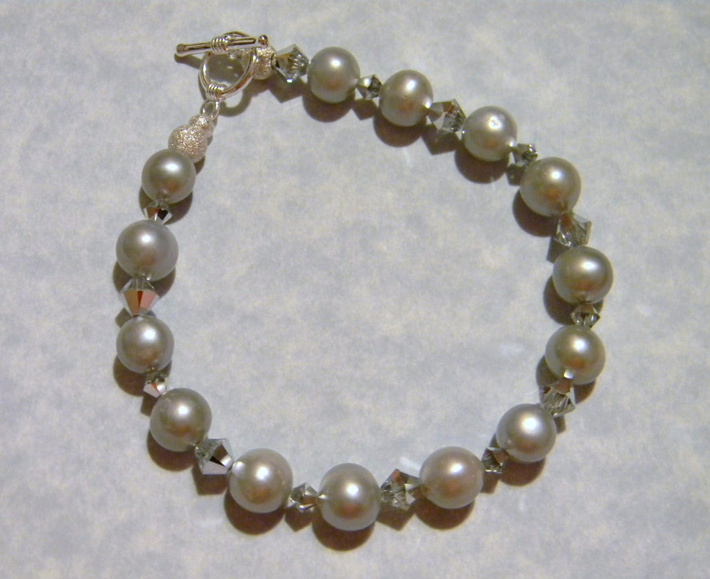 Gray Freshwater Potato Pearl and Crystal Bracelet