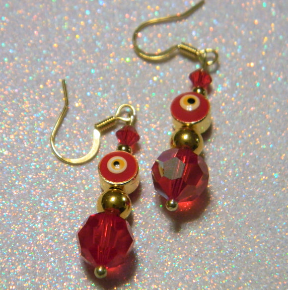 Red Turkish Evil Eye, Crystal and Gold Bead Drop Earrings