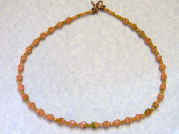 Pink, Peach and Green Faceted Givre Bead Necklace
