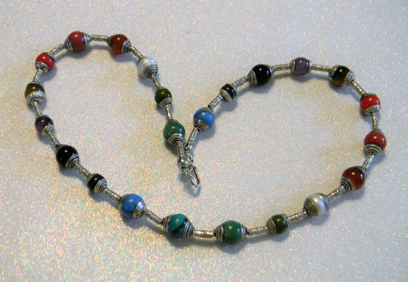 Multicolor Tibetan Repousse Silver Capped Gemstone and Silver Hill Tribe Tube Necklace