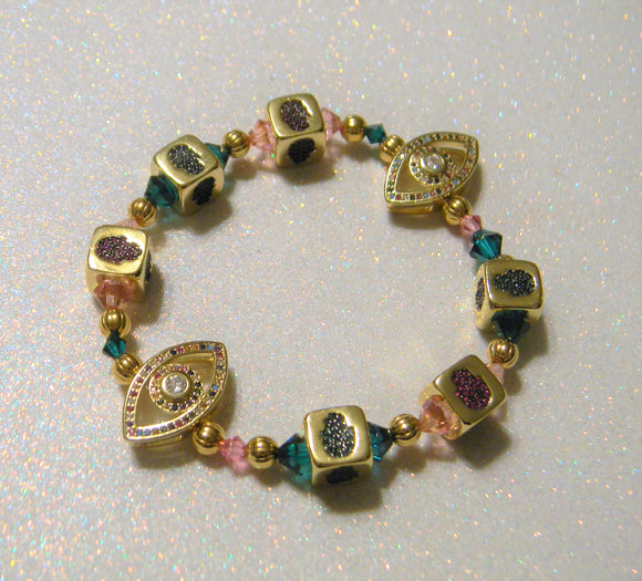 Pink and Green CZ Brass Hamsa Cube, Gold Bead and Crystal Stretch Bracelet