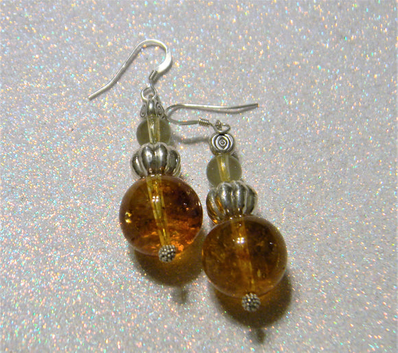 Shades of Citrine, Bali Silver and Evil Eye Drop Earrings