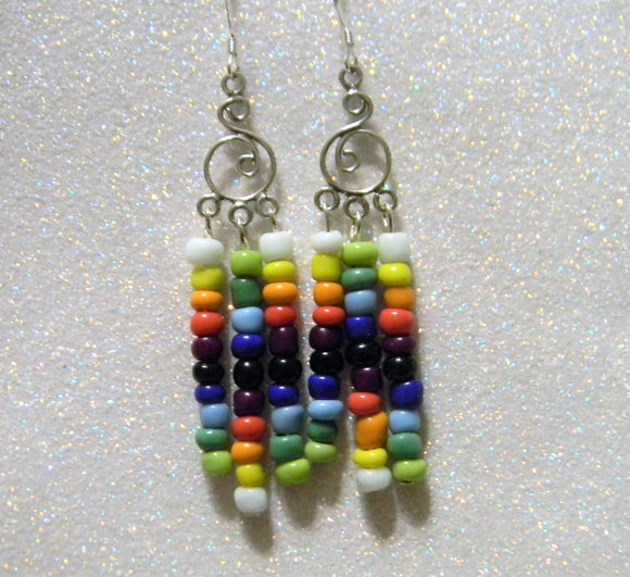 Rainbow Multicolor Seed Bead Chandelier Earrings