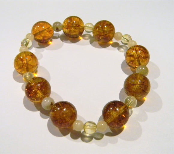 Shades of Yellow and Gold Citrine, Rutilated Quartz and Honey Jasper Stretch Bracelet