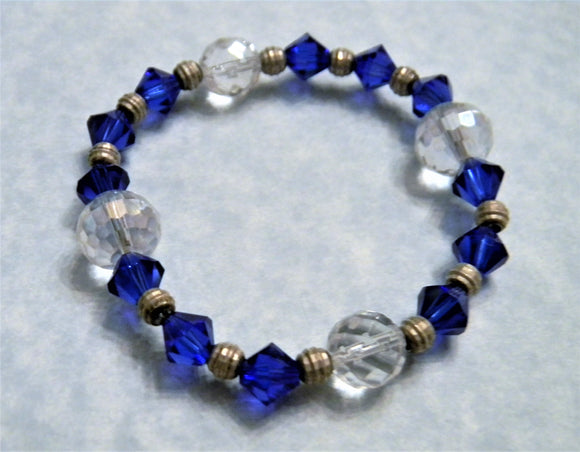 Clear and Sapphire Crystal, Crystal Quartz and Silver Bead Stretch Bracelet