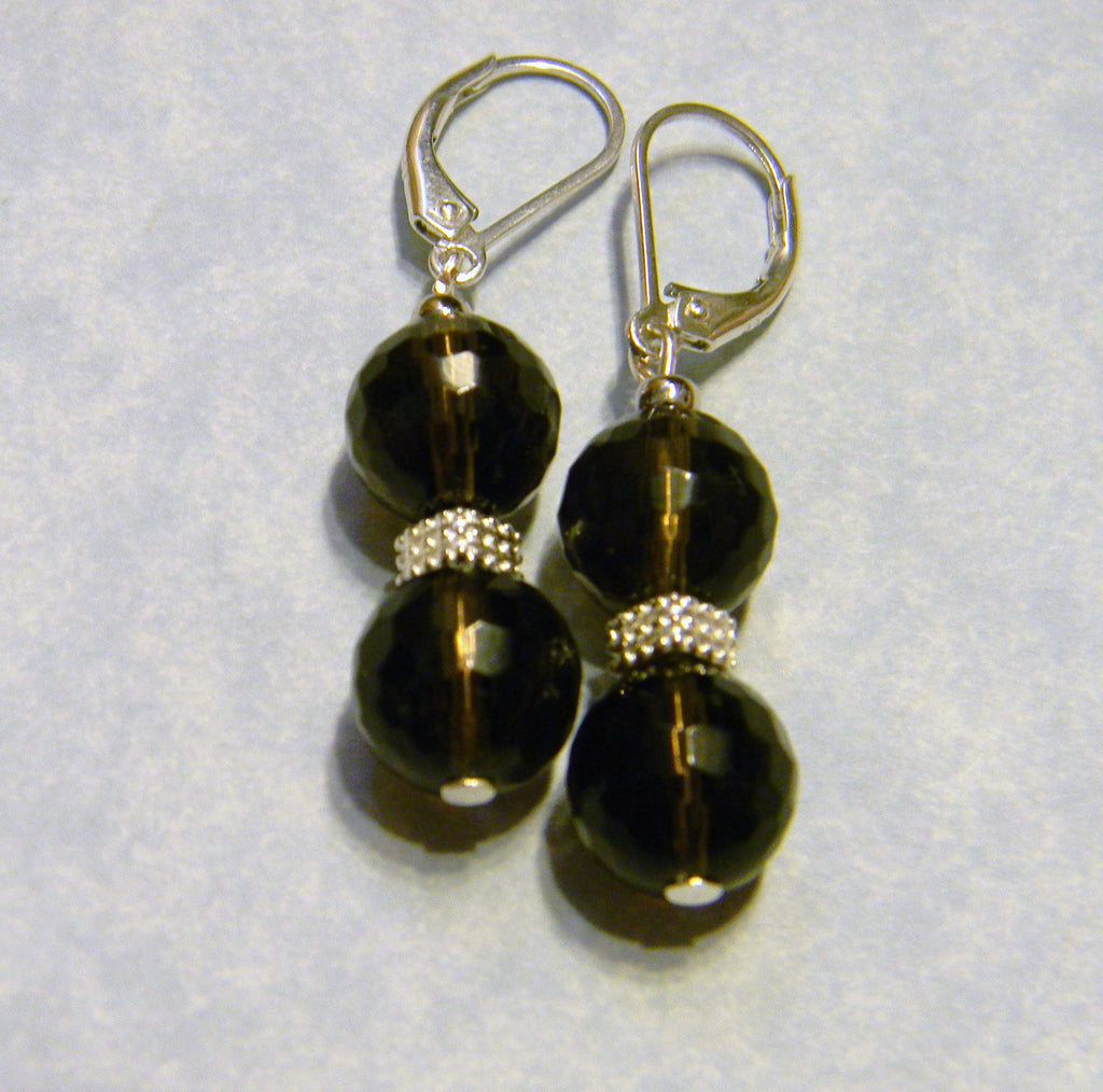 Faceted Smoky Quartz and Silver Drop Earrings