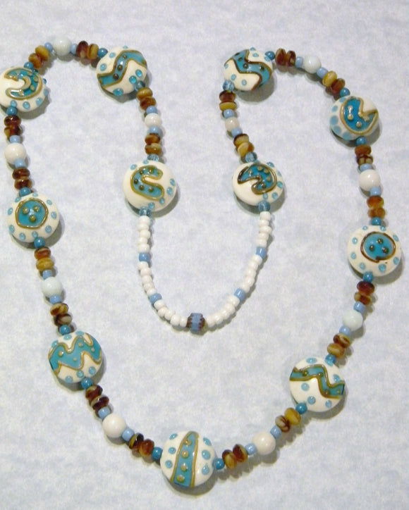 Brown White and Turquoise Art Glass Lampwork and Gemstone Necklace
