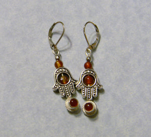Carnelian and Silver Hamsa Bead Frame Drop Earrings