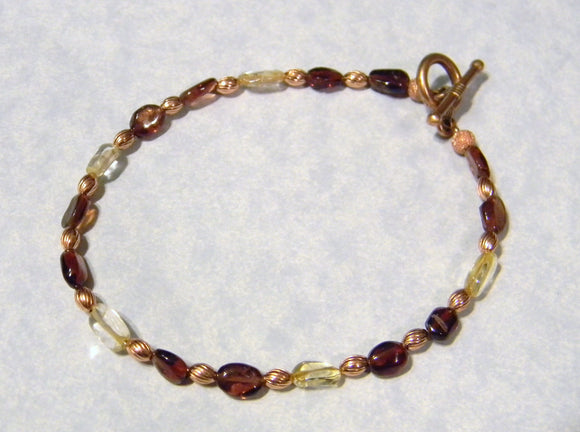 Garnet, Citrine and Copper Bead Bracelet