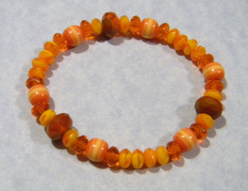 Orange and Yellow Acrylic, Givre and Glass Bead Stretch Bracelet