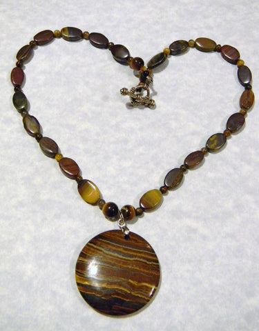 Tiger Iron and Tigers Eye Medallion Pendant Necklace