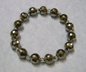 Metallic Gray Colored Crystal and Glass Stretch Bracelet