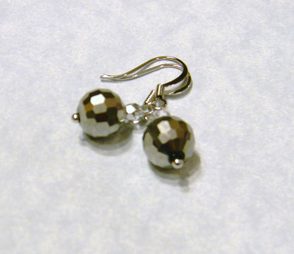 Metallic Gray Crystal and Silver Drop Earrings