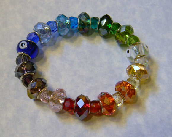Rainbow Large Hole Crystal and Glass Evil Eye Bead Stretch Bracelet