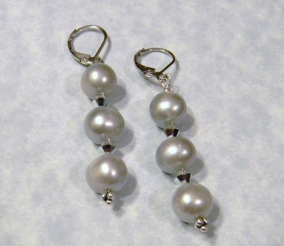 Gray Potato Pearl and Crystal Earrings