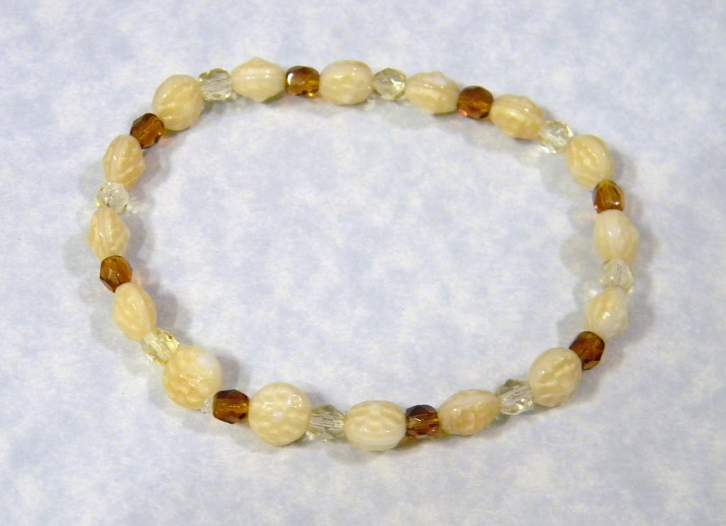 Dimpled Ivory Glass with Yellow and Amber Glass Bead Stretch Bracelet