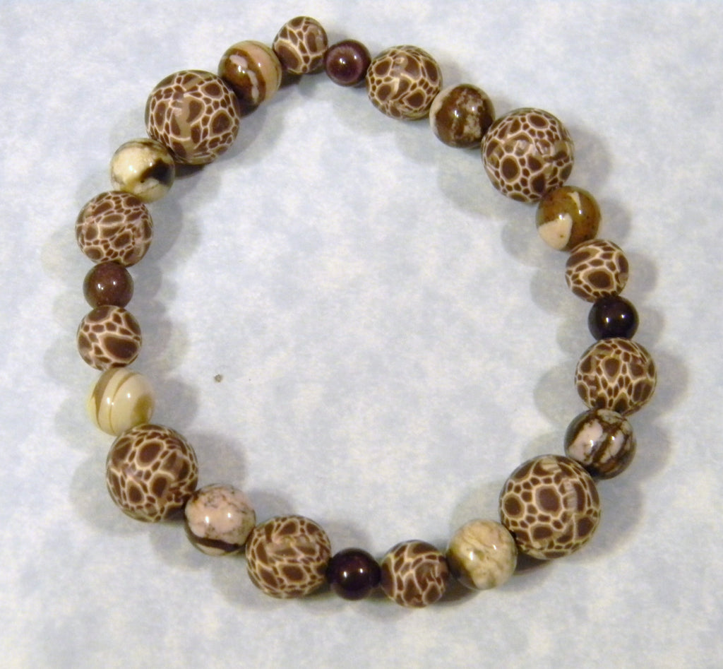 Giraffe Style Fimo Beads and Opaque Gemstone Stretch Bracelet