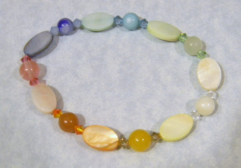 Rainbow Pastel Colored Oval Shell, Gemstone and Crystal Stretch Bracelet