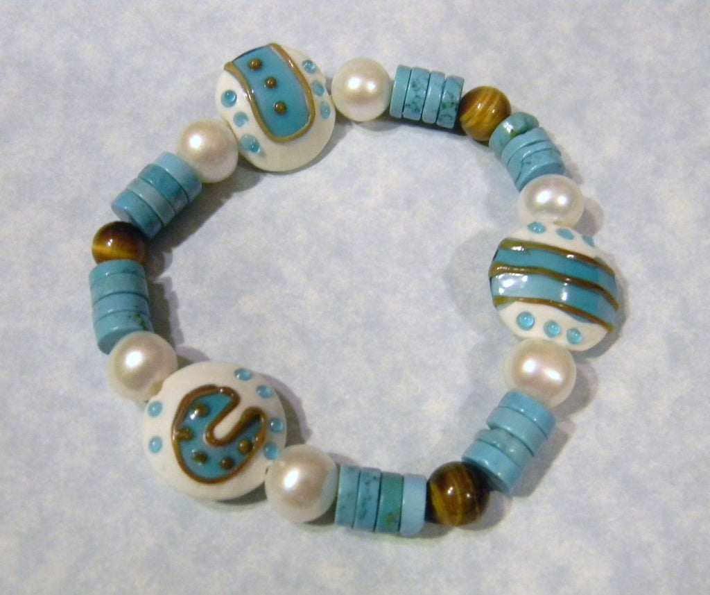 Turquoise, Pearl, Tigers Eye and Art Glass Lampwork Bead Stretch Bracelet