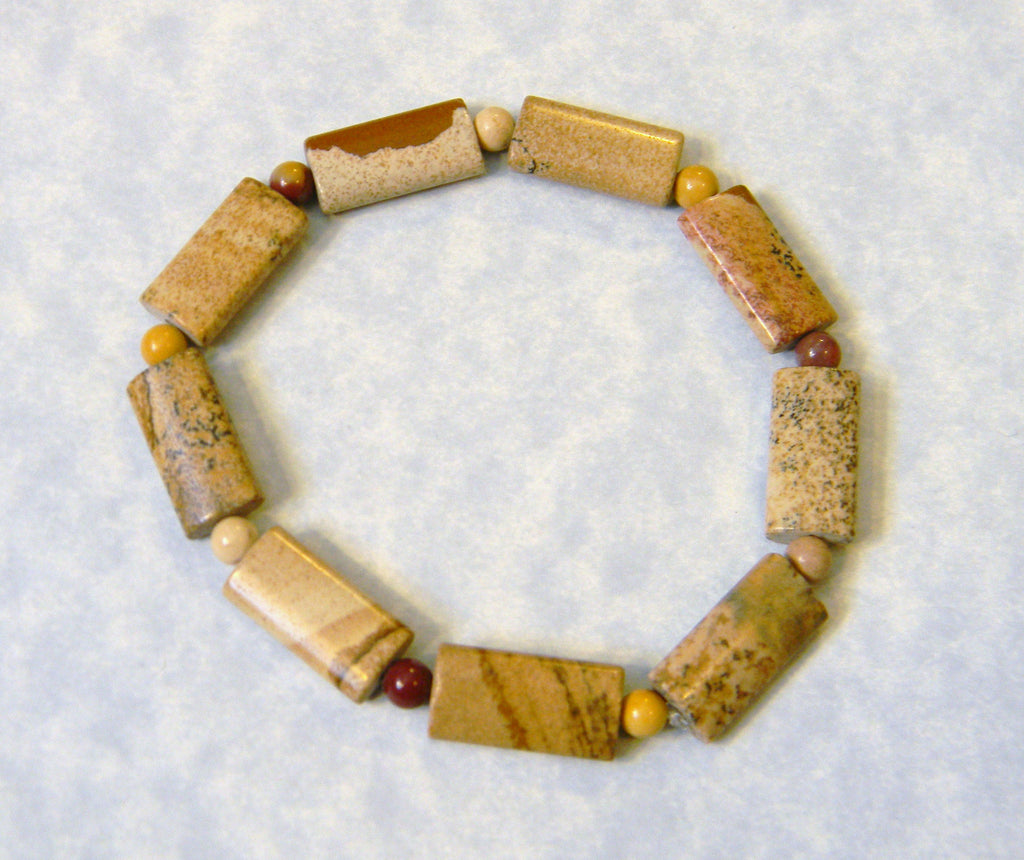 Picture Jasper and Moukaite Stretch Bracelet