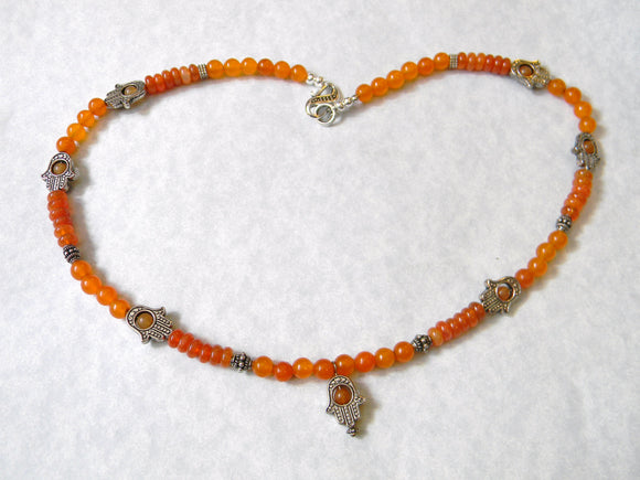 Carnelian, Peach Aventurine and Bali Silver Hamsa Necklace