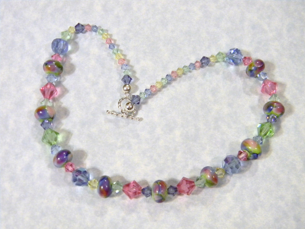 Pastel Art Glass Lampwork and Crystal Necklace