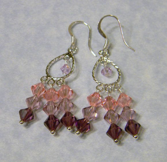 Shades of Purple and Pink Crystal Bicone Chandelier Earrings