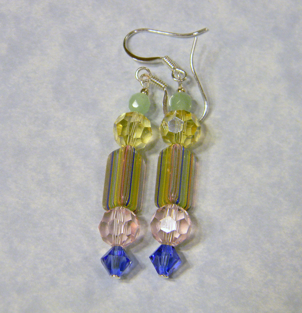 Pastel David Christensen Rainbow Furnace Cane Beads and Crystal Drop Earrings
