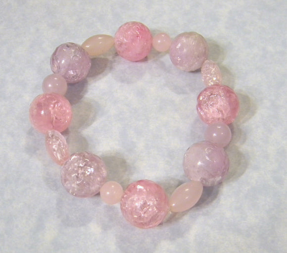 Large Pink and Lavender Acrylic Bead Stretch Bracelet