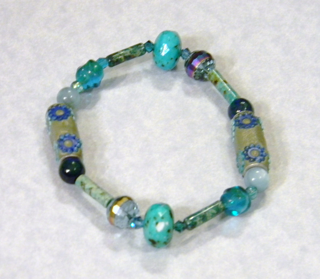 Teal and Turquoise Gemstone, Glass and Kashmiri Lac Bead Stretch Bracelet