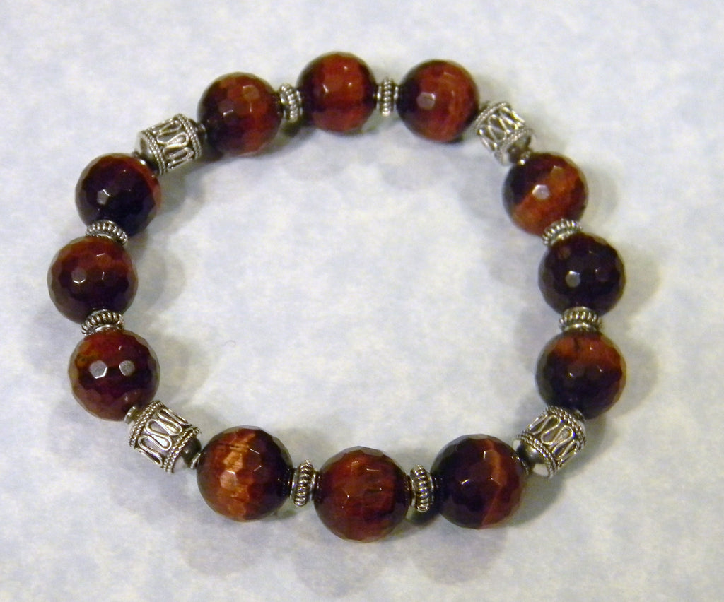 Bali Silver and Faceted Red Tigers Eye Stretch Bracelet