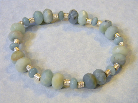 Amazonite Rondel and Hammered Silver Stretch Bracelet