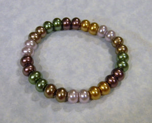Glass Pearl Rondel Stretch Bracelet
