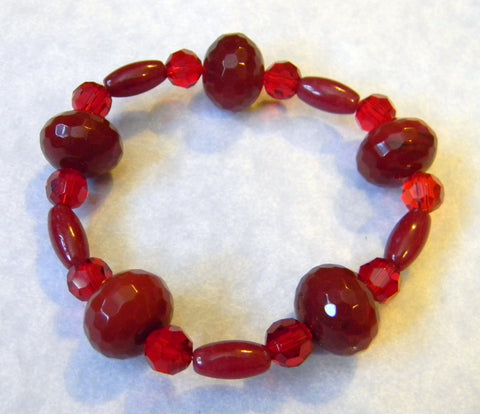 Faceted Red Agate, Red Jade and Crystal Stretch Bracelet
