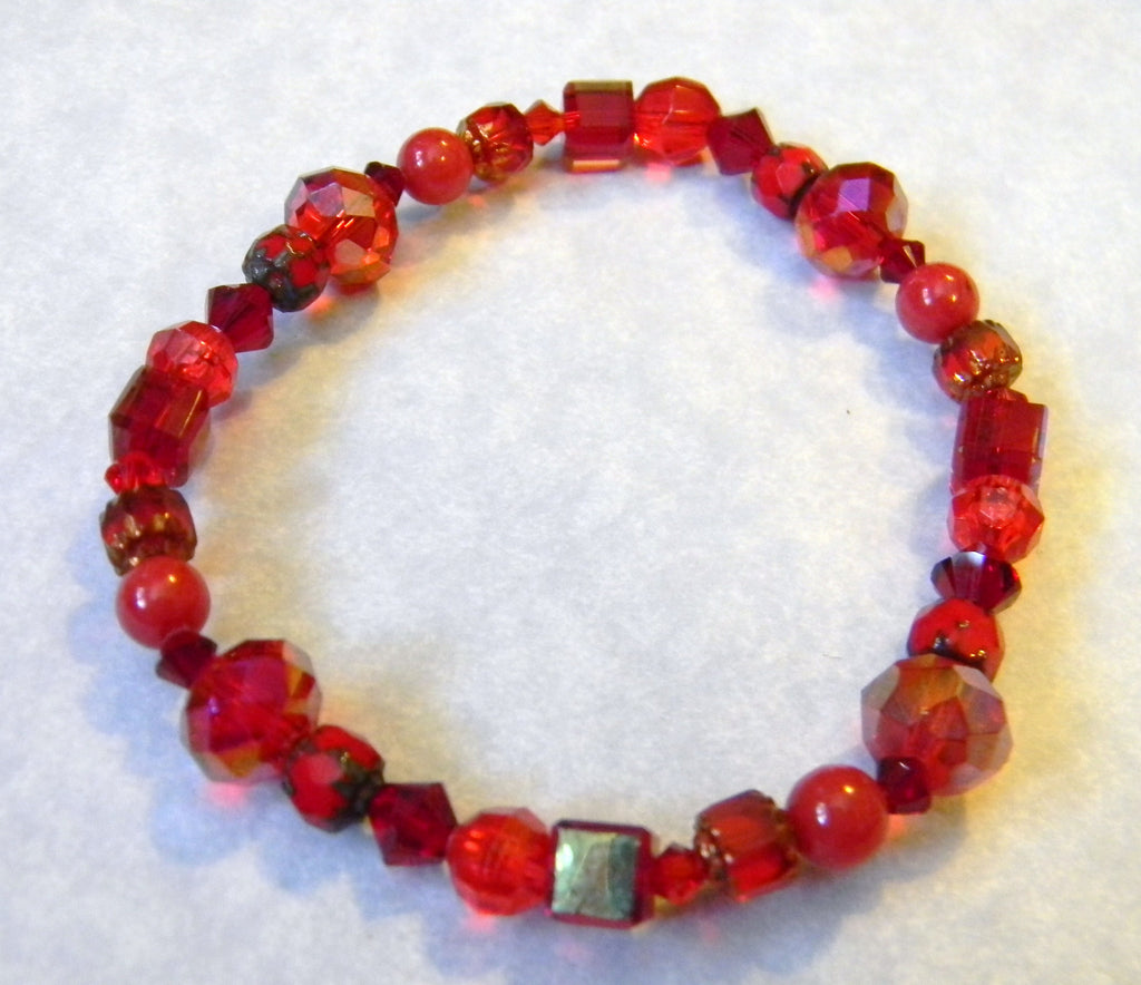 Shades of Red Crystal, Glass, Jade and Cathedral Bead Stretch Bracelet
