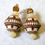 Beige and Brown Etched Acrylic and Glass Bead Drop Earrings